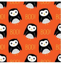 seamless pattern with cute owls and text vector image