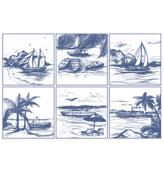 seashore beach with palm trees sailing boats on vector image