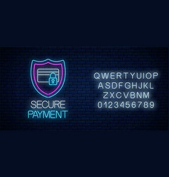secure payment glowing neon sign with alphabet vector image