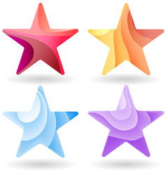 set colorful stars stripped color vector image
