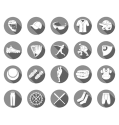set icons baseball in style flat design vector image