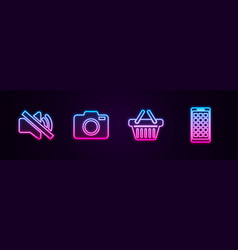 Set line speaker mute photo camera shopping vector