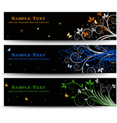 Set of banner design with floral elements vector