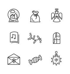 Set of black wintertime icons vector
