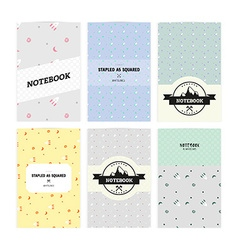 Set of notebook covers with pattern rockets and vector image