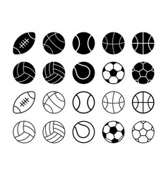 set of simple flat sports balls vector image