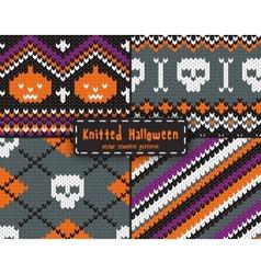set seamless halloween patterns vector image