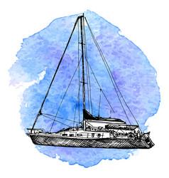 Sketch yacht vector