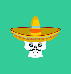 Skull in sombrero sad emoji mexican skeleton for vector
