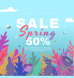 spring sale banner with flowers on blue background vector image