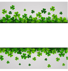 st patricks day banner with green shamrocks vector image