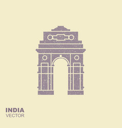 stylized silhouette of indian gate in new delhi vector image