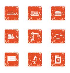 survey icons set grunge style vector image