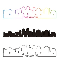 Thessaloniki skyline linear style with rainbow vector image