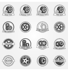 Tire emblems or labels vector