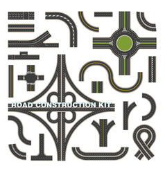 top view on road parts for construction kit vector image
