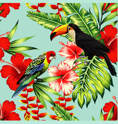tropical birds and flowers seamless background vector image