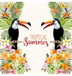 Tropical flowers toucan bird tropical background vector