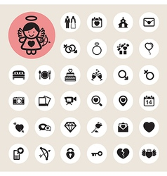 Valentines day and wedding icons set vector image vector image