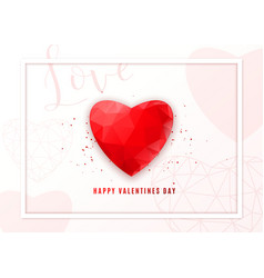 Valentines day geometric background greeting card vector