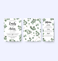 Wedding invite menu card floral design vector