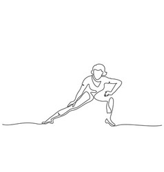 woman stretching legs fitness one line draw vector image