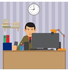 work of the specialist Working station for vector image
