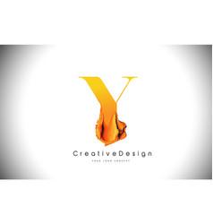 y orange letter design brush paint stroke gold vector image
