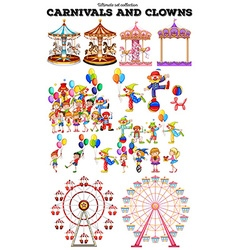 Carnivals objects and clowns vector image