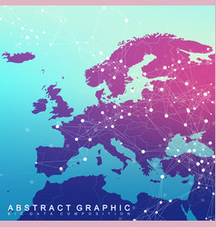 global network connection with europe map network vector image vector image