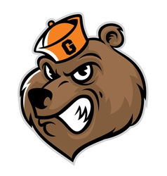 grizzly bear head mascot vector image vector image