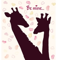 Happy Valentines day card with girafe vector image vector image