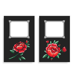 roses and frames posters set vector image vector image