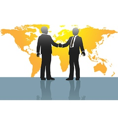 Business men handshake on world map vector image