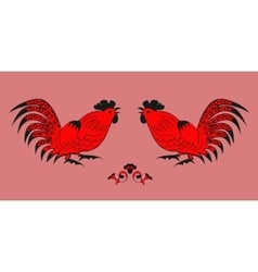 Fighting of roosters on a red background vector image