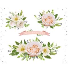 flower bouquet design object element set peach vector image vector image