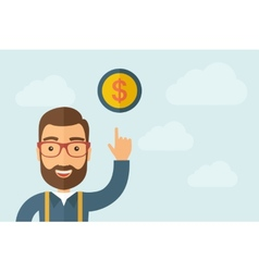 Man pointing the dollar coin icon vector image