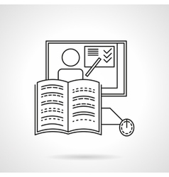 Online training flat line icon vector