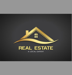real estate gold logo template vector image vector image