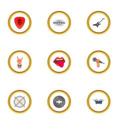 rock icons set cartoon style vector image vector image