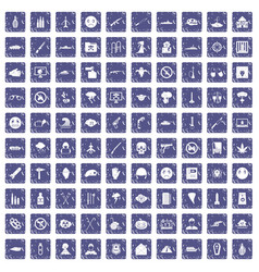 100 oppression icons set grunge sapphire vector image vector image