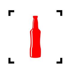 beer bottle sign red icon inside black vector image