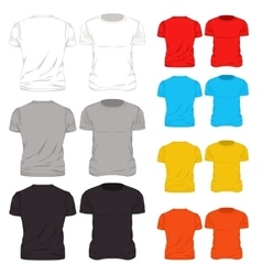 Colorful t shirt template icon set vector