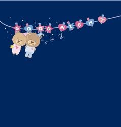 Good Night Couple teddy bear on clothes line vector image