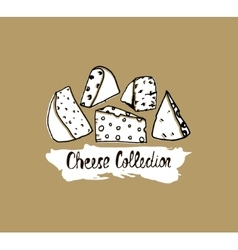 Hand drawn cheese background vector image vector image