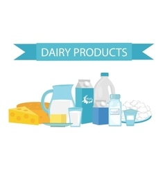 Milk products still-life flat style dairy vector