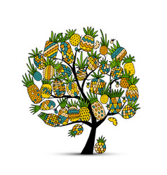 pineapple tree sketch for your design vector image vector image