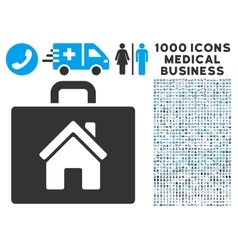Realty Case Icon with 1000 Medical Business vector image vector image