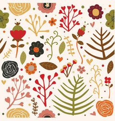 seamless pattern flowers autumn fall color vector image