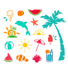summer hand drawn beach icon element set vector image vector image